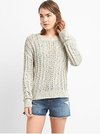 Spacedye Textured Knit Crewneck Pullover Sweater