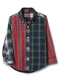 Chemise boutonnée en popeline à carreaux variés