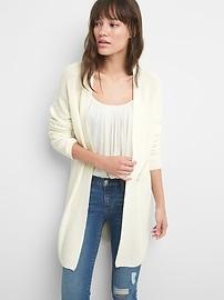 Open-Front Shaker Stitch Cardigan Sweater in Merino Wool-Blend