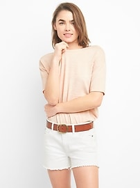Softspun Elbow-Length Sleeve Round Neck T-Shirt