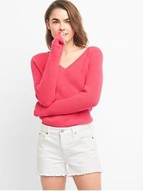 V-Neck Pullover Sweater in Merino Wool-Blend
