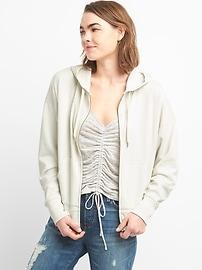 Crop Dolman Sleeve Zip Hoodie