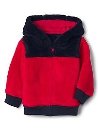 Sherpa colorblock zip hoodie