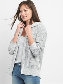 Open-Front Knitted Hoodie in Chenille