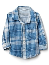 Double-Weave Convertible Plaid Shirt