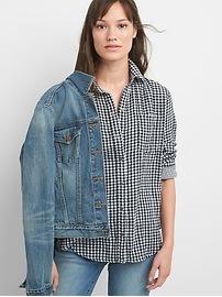 Chemise à carreaux à double tissage, coupe boyfriend