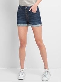 "Washwell High Rise 3"" Denim Shorts with Button-Fly"