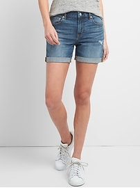 "Washwell Mid Rise 5"" Denim Shorts with Distressed Detail"