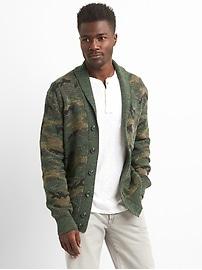 Camo Shawl-Collar Cardigan Sweater