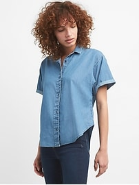 Short Sleeve Split-Back Denim Shirt