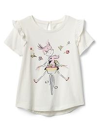Ruffle Graphic T-Shirt