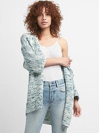 Three-Quarter Sleeve Open-Front Cardigan Sweater