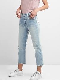 Cone Denim&#174 Super High Rise Crop Straight Jeans