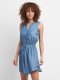 TENCEL&#153 Sleeveless Tie-Waist Bib Front Shirtdress