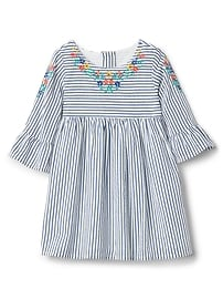 Embroidery Stripe Fit & Flare Dress
