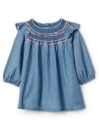Smocked Dress in Chambray