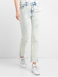 Washwell High Rise Slim Straight Jeans in Acid Wash
