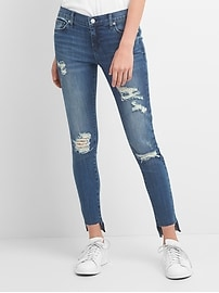 Washwell Low Rise True Skinny Jeans with Destruction