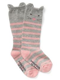 Chaussettes aux genoux à motif de chat