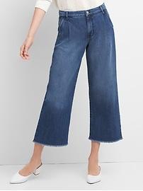 Jeans jambe large trois quarts à taille haute