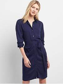 Long Sleeve Shirtdress with Ruching