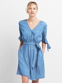 Tie-Sleeve Wrap Dress in TENCEL&#153