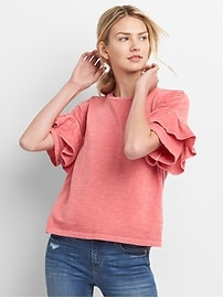 Ruffle Short Sleeve Crewneck T-Shirt