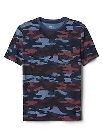 T-shirt ras du cou à poche à imprimé camouflage