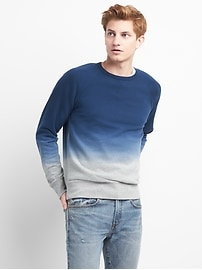 Dip-Dye Pullover Crewneck Sweatshirt in French Terry