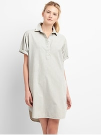 Rolled Sleeve Popover Denim Shirtdress in Pinstripe