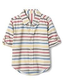 Chemise boutonnée convertible à rayures