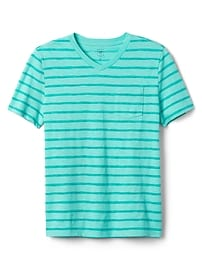 Stripe V-Neck Pocket T-Shirt