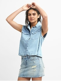 Cropped Sleeveless Western Shirt in Denim