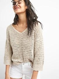 Crochet Pullover V-Neck Sweater