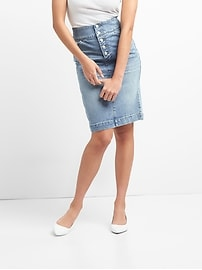 Denim Pencil Skirt with Button-Fly