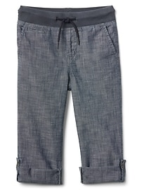 Pull-On Chambray Pants