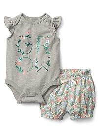 Floral Bodysuit and Shorts Set