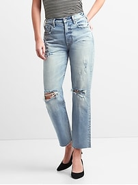 Cone Denim&#174 High Rise Wide-Straight Jeans with Destruction