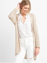 Loose Knit Open-Front Cardigan Sweater