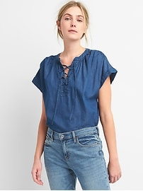 Short Sleeve Lace-Up Denim Shirt