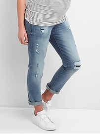Maternity full panel repaired best girlfriend jeans