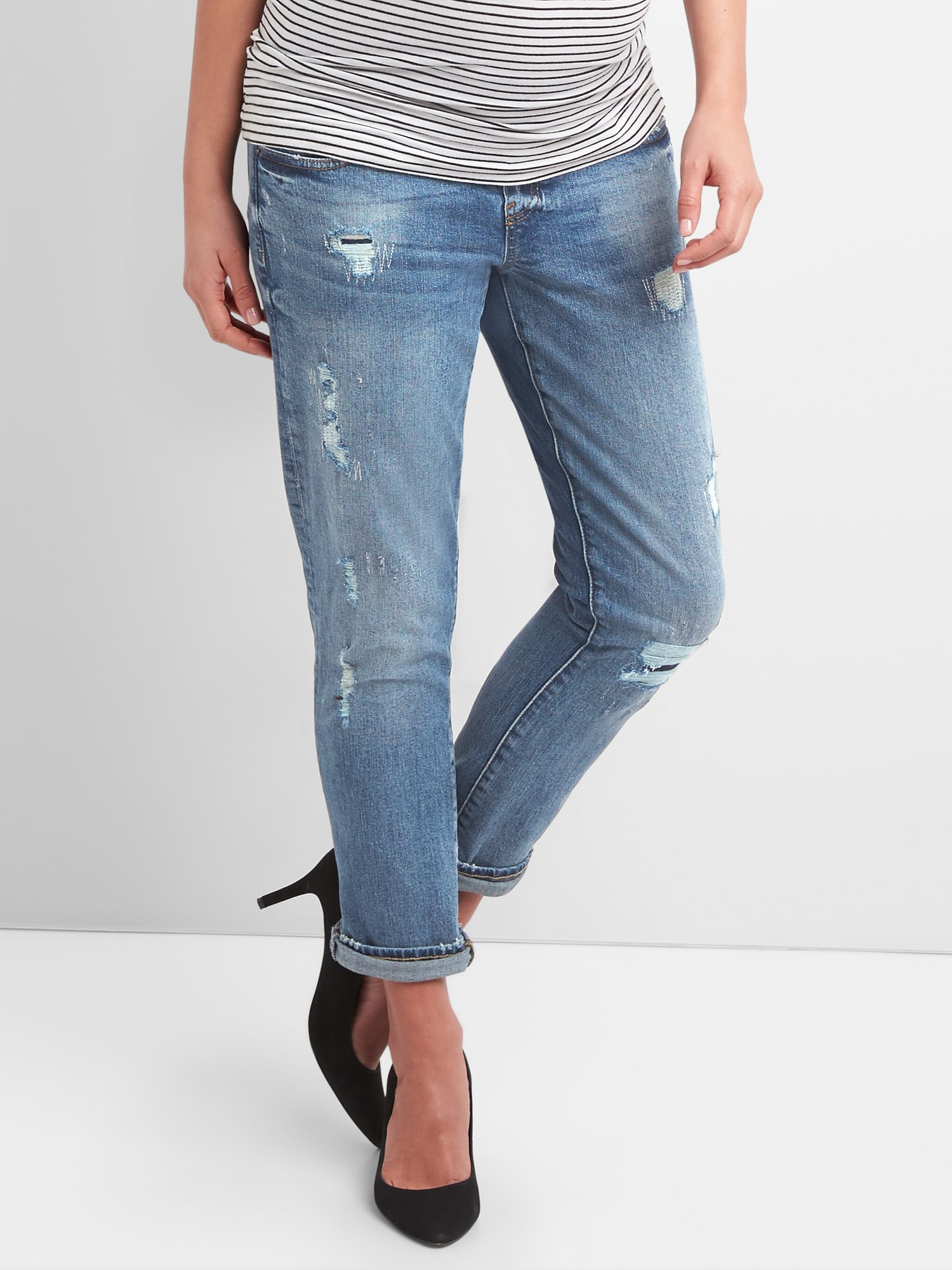 6a497786ee495 Maternity Demi Panel Repaired Girlfriend Jeans | Gap