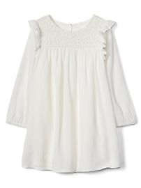 Smocked Ruffle-Sleeve Dress