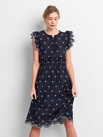 Ruffle Trim Eyelet Midi Dress