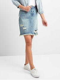 5-Pocket Denim Pencil Skirt in Distressed
