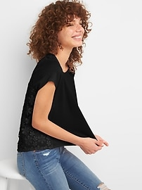 Lace Back Short Sleeve Crewneck T-Shirt