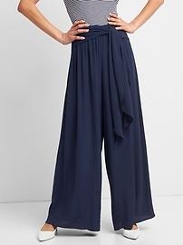 Wide-Leg Pants with Sash Belt