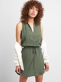 Sleeveless Tie-Waist Bib Front Shirtdress