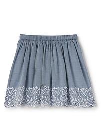 Eyelet Chambray Flippy Skirt