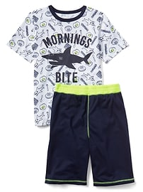 Pyjama court à motif de requin
